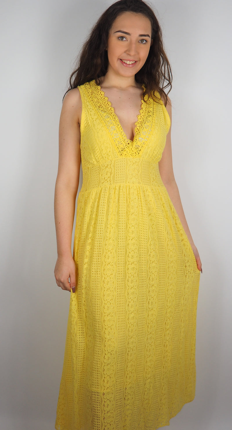Husen Moda Yellow Cotton Maxi Dress