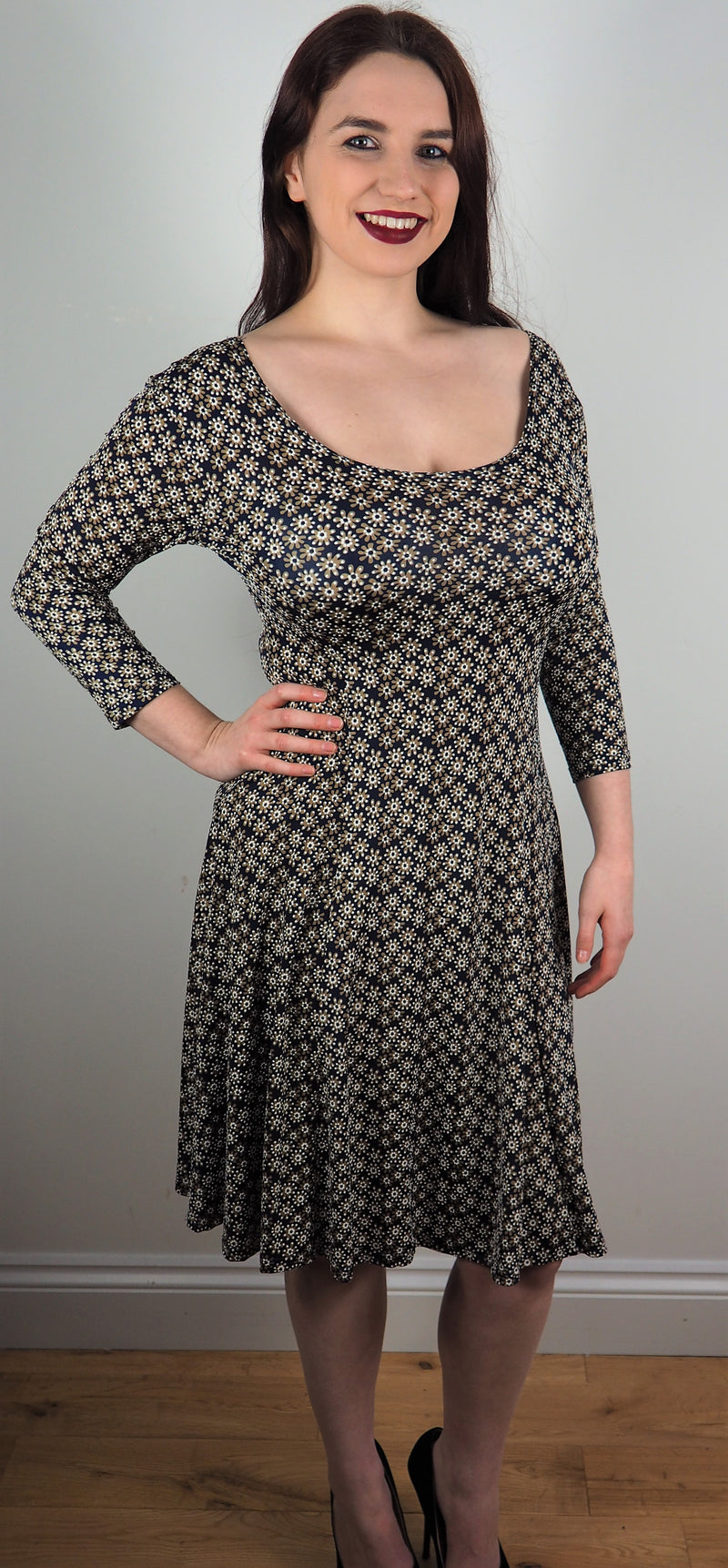 Husen Moda Navy/brown print dress