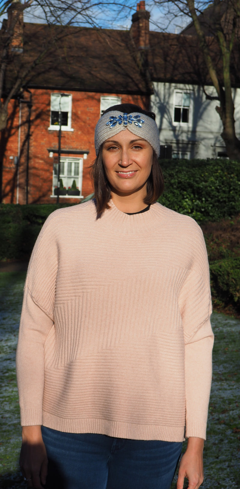 Husen Moda Blush Pink Ribbed Jumper