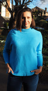 Husen Moda Blue Ribbed Jumper