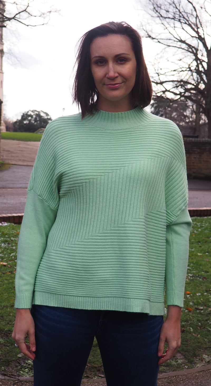 Husen Moda Green Ribbed Jumper