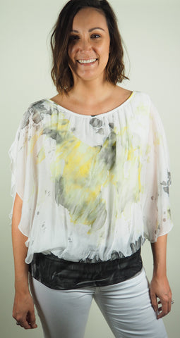 Yellow Frill Silk Top