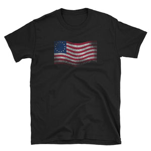 Betsy Ross Flag Waving Distressed Grunge Style print Short-Sleeve Unisex T-Shirt
