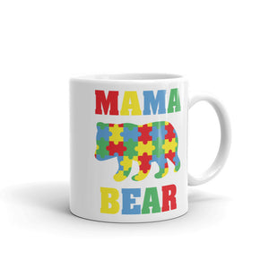 Mama Bear Autism Awareness Puzzle Pieces Mug