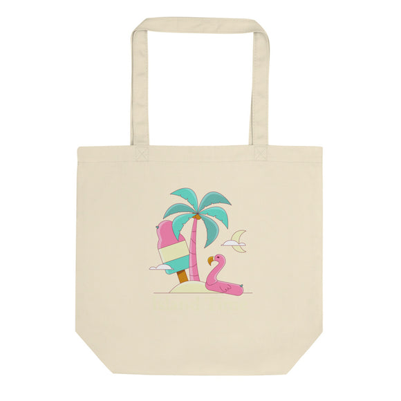 Flamingo Island Time Tropical Vacation Ice Cream Graphic print Eco Tote Bag