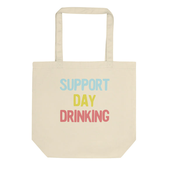 Support Day Drinking Vintage Retro 90s Style Party Design design Eco Tote Bag
