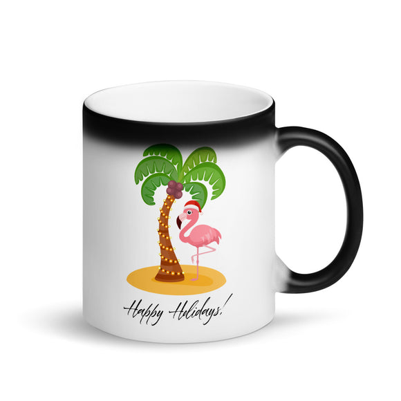Happy Holidays Pink Flamingo Christmas Island Vacation  design Matte Black Magic Mug