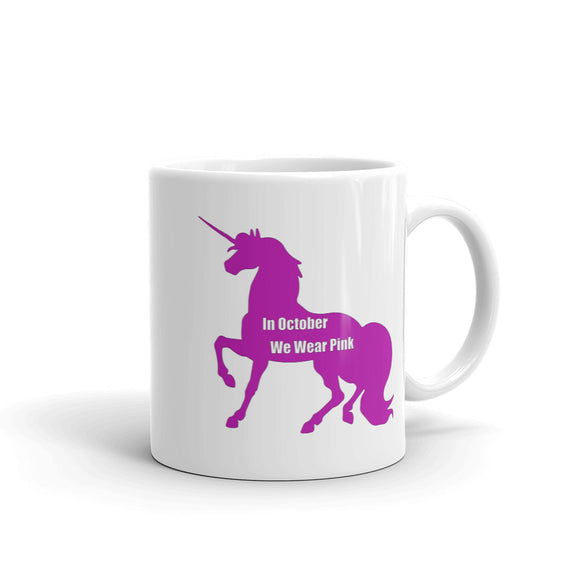 Breast Cancer Awareness In October We Wear Pink Unicorn Mug