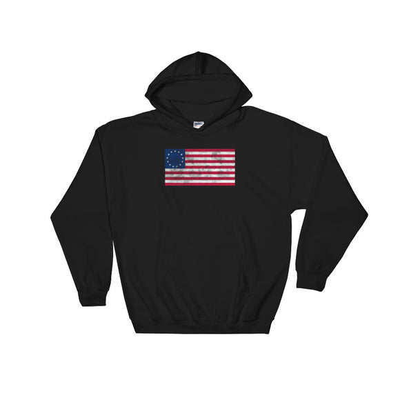 Distressed Betsy Ross American Flag graphic Unisex Hooded Sweatshirt