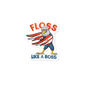 Fourth of July Floss Like A Boss American Flag Bald Eagle print Bubble-free stickers