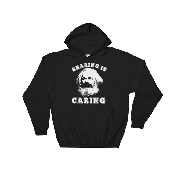 Varsity Style Socialism Karl Marx Sharing is Caring design Unisex Hooded Sweatshirt