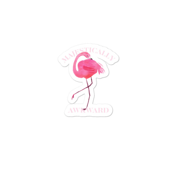 Majestically Awkward Pretty Pink Flamingo Watercolor Graphic graphic Bubble-free stickers