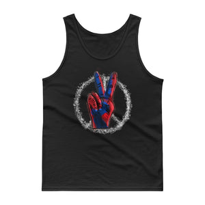 Peace Symbol With Finger Sign Red White and Blue Hippy Style product Tank top