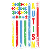 Colorful Puzzle Pieces American Flag Autism Awareness Bubble-free stickers