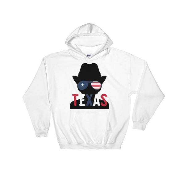 Texas Flag Cowboy Silhouette Glasses Red White Blue Graphic graphic Unisex Hooded Sweatshirt