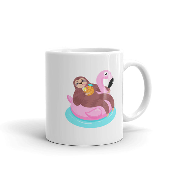 Sloth Relaxing on a Pink Flamingo Pool Float Graphic print Mug