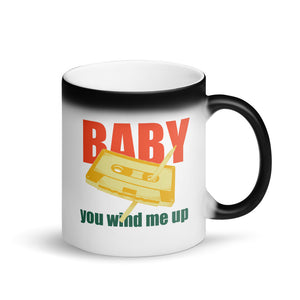 Pen and Cassette Baby You Wind Me Up Trendy Throwback  product Matte Black Magic Mug