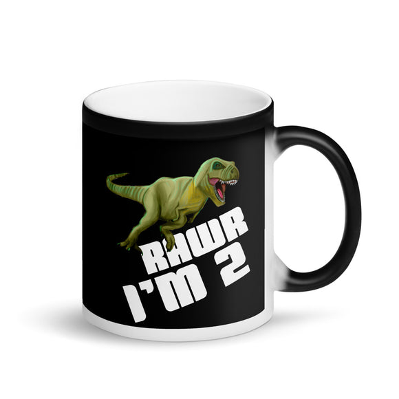 Kids Boys 2nd Birthday graphic Dinosaur T-Rex Tyrannosaurus Rex Matte Black Magic Mug