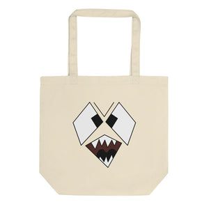 Scary Snarling Angry Monster Face Graphic Illustration  print Eco Tote Bag