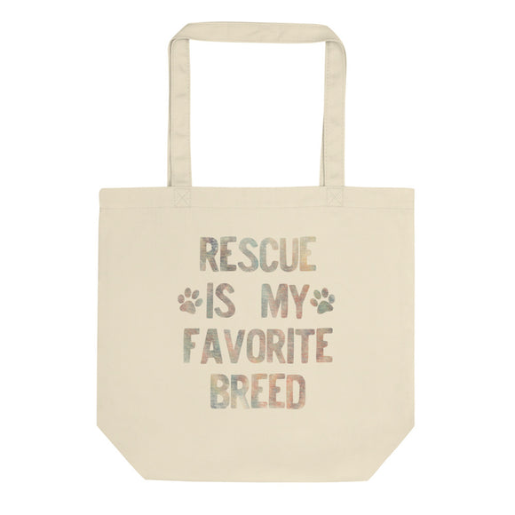 Rescued Dog Rescue Is My Favorite Breed Faded Rainbow  graphic Eco Tote Bag