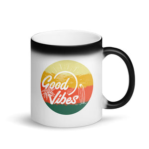 Retro Summer Good Vibes Sunset Surf Palm Trees and Beach product Matte Black Magic Mug