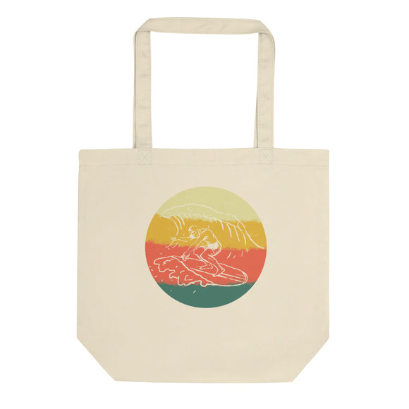 Retro Surfing Vintage Hand Drawn Graphic Illustration design Eco Tote Bag