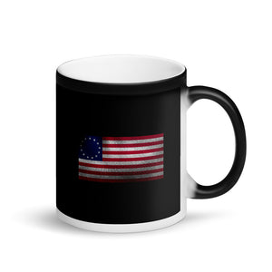 Betsy Ross Flag Distressed Faded Grunge Style print Matte Black Magic Mug