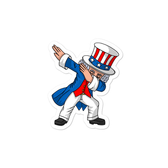4th of July Party print for Kids Boys Men Dabbing Uncle Sam Bubble-free stickers