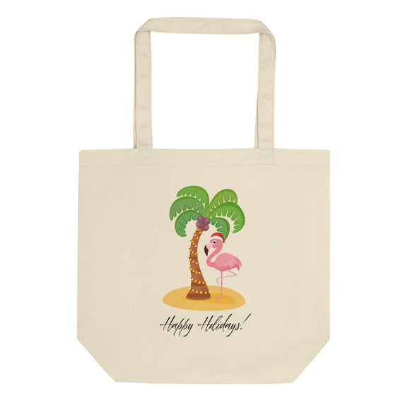 Happy Holidays Pink Flamingo Christmas Island Vacation  design Eco Tote Bag