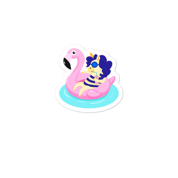 Unicorn with Flamingo Pool Float  print Bubble-free stickers