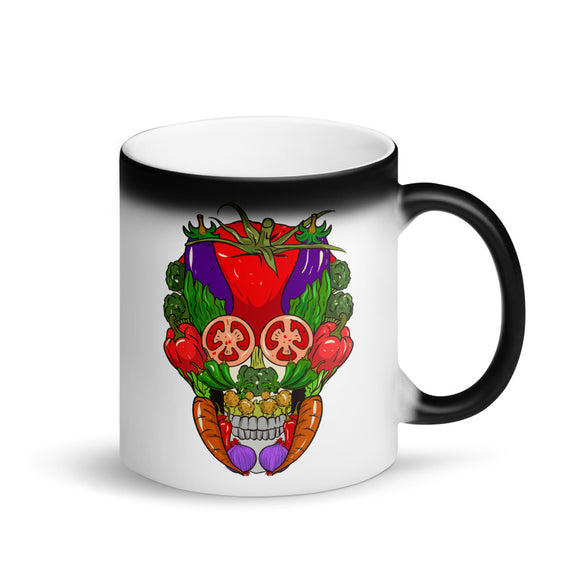 Vegan Sugar Skull design for Veganism Lifestyle Vegetarians Matte Black Magic Mug