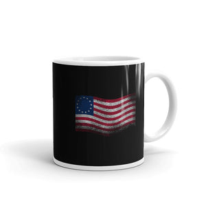Betsy Ross Flag Waving Distressed Grunge Style print Mug