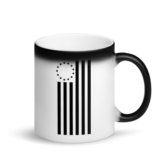 Vertical Betsy Ross Flag Black Cool Modern Style product Matte Black Magic Mug