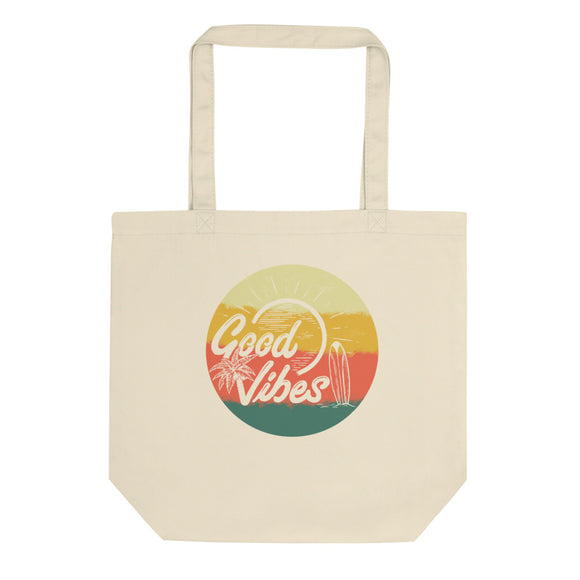 Retro Summer Good Vibes Sunset Surf Palm Trees and Beach product Eco Tote Bag
