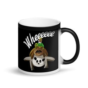 Funny Worm Riding Snail Turtle Sloth Panda Kids Graphic graphic Matte Black Magic Mug