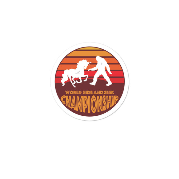 Unicorn Bigfoot Sasquatch World Hide and Seek Championship Bubble-free stickers