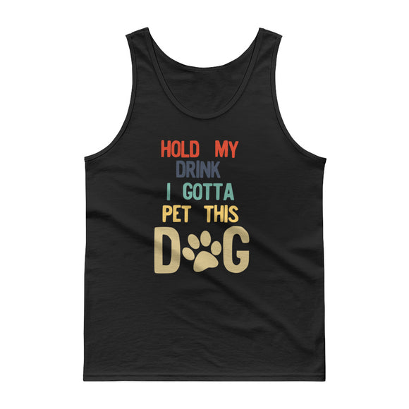 Hold My Drink I Gotta Pet This Dog 70s 80s Retro Style product Tank top