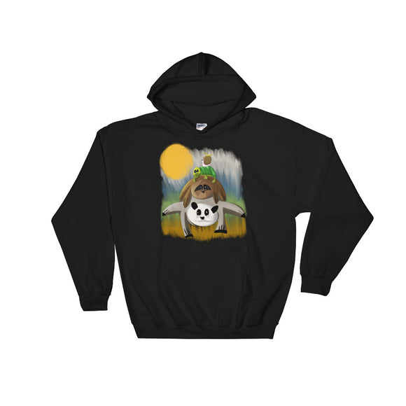 Funny Panda Sloth Turtle Snail Inch Worm Graphic design Unisex Hooded Sweatshirt