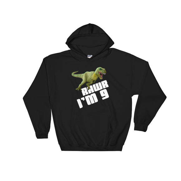 Kids Boys 9th Birthday product Dinosaur T-Rex Tyrannosaurus Rex Unisex Hooded Sweatshirt