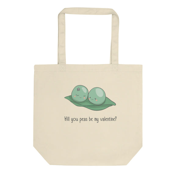 Will You Peas Be My Valentine Cute Graphic Valentines Day Eco Tote Bag