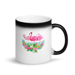 Get Flocked Funny Pink Flamingo Flock Graphic print Matte Black Magic Mug