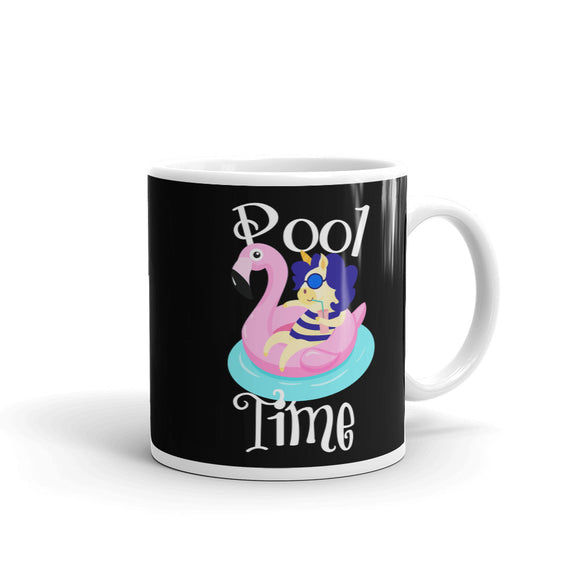 Pool Time Unicorn with Flamingo Pool Float Graphic graphic Mug