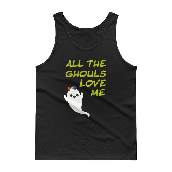 LGBT Lesbian Halloween All The Ghouls Love Me Rainbow Bow Tank top
