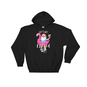 Let's Get Flocked Up Santa Claus Christmas Party Flamingo product Unisex Hooded Sweatshirt