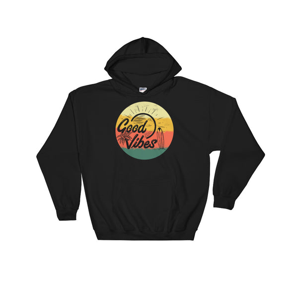 Retro Summer Good Vibes Sunset Surf Palm Trees and Beach product Unisex Hooded Sweatshirt