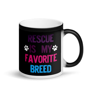 Rescued Dog Rescue Is My Favorite Breed Retro Purple Pink product Matte Black Magic Mug