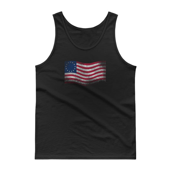 Betsy Ross Flag Waving Distressed Grunge Style print Tank top