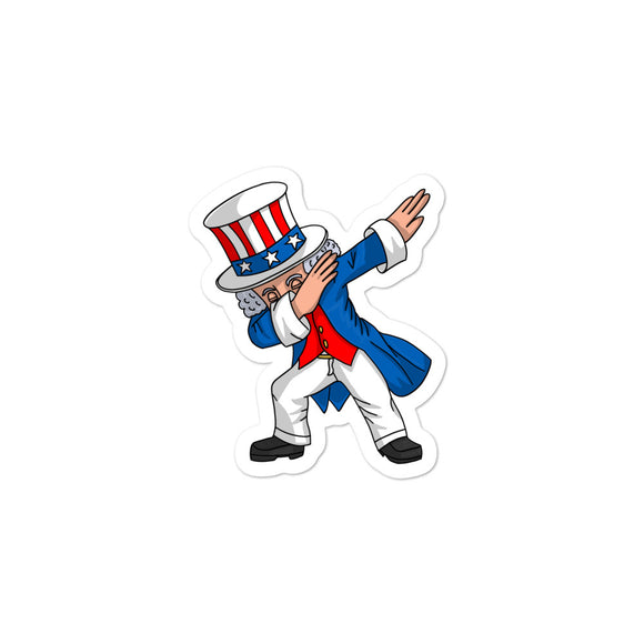 4th of July Party design for Kids Boys Men Dabbing Uncle Sam Bubble-free stickers