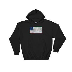 Betsy Ross American Flag Distressed Grunge Style design Unisex Hooded Sweatshirt