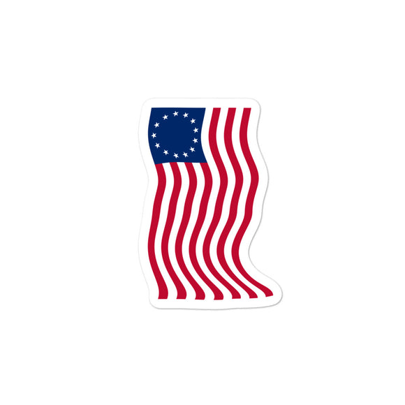 Wavy Betsy Ross Flag design Bubble-free stickers
